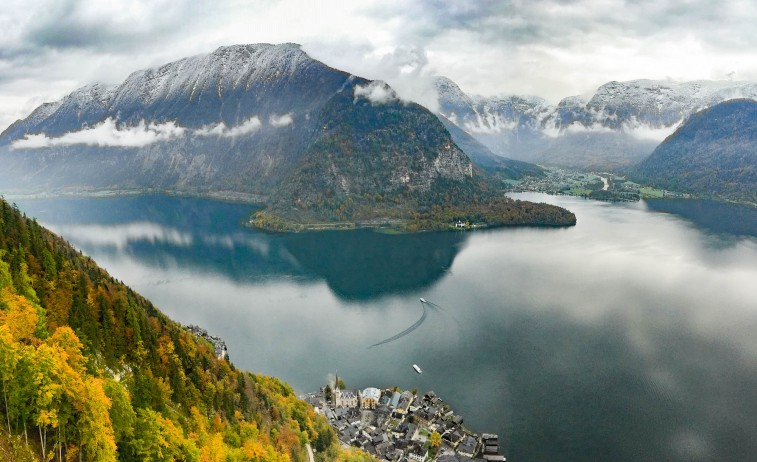Overlooking Lake Hallstatt and the epnymous town below from up atop the Salt Mine in Austria