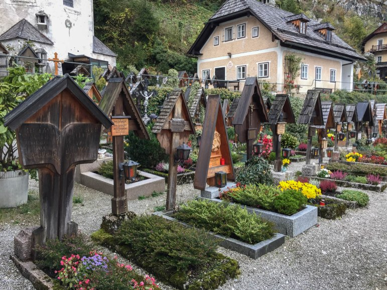 In Hallstatt, the catholic church has this beautiful cemetery with hand tended gardens at each gravesite. Remarkable.